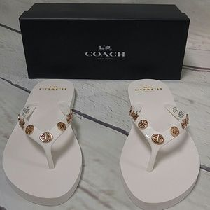 New Coach White Charmed Gold Logo Flip Flops